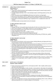 It Procurement Resume Samples Velvet Jobs
