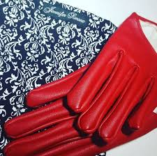 red leather faux leather gloves