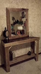 entryway table with mirror. Pallets Wood Entryway Table Reclaimed With Mirror