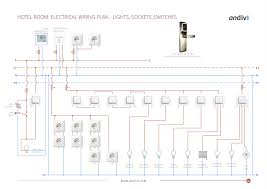 electrical wiring plan hotel room lights sockets switches