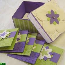 purple note cards yart sale handmade box and matching note cards in purple and white