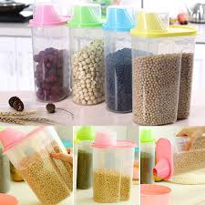 dry food storage containers. E74 Dried Food Cereal Flour Pasta Storage Dispenser Rice Container Sealed Box 1.9L Dry Containers R
