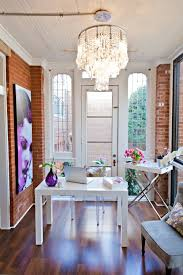 inspiring home office contemporary. Unique Home Desk  Butler Stand Tray From West Elm Exposed Brick Gorgeous Light  Fixture Chandelier And Beautiful Painting Contemporary Home Office Inspiration With Inspiring Home Office