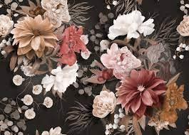 Realistic Dark Floral Wallpaper Mural ...
