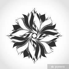 Fototapeta Vinylová Fantasy Květina černá A Bílá Tetování Vzor