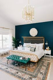 blue and green bedroom. A Modern Boho Master Bedroom With Dark Teal, Copper And White Colors. Blue Green I
