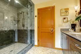 Bathroom Interior Door Modern Bathroom Interior With Glass Door Shower And Tile Wall