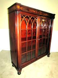 antique bookcases with glass doors wood bookcase cherry g