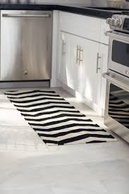 black and white striped kitchen area rug