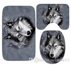 2019 bathroom mat set wolf pattern floor rugs non slip water absorption rug cushion toilet seat cover bath mat for home decoration from sophine11