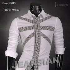 Pattern Shirts Amazing Jeansian Mens Fashion Cotton Designer Pattern Cross Line Slim Fit