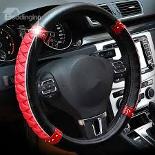 thick fashion shining tangerine pattern combination of black and red steering wheel cover beddinginn com
