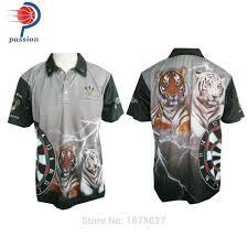 Designer Darts Unique Team Grey Dart Shirt With Tiger Designs Free Shipping