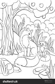 Small Picture Coloring Pages Wild Animals Mother Fox Stock Vector 437879872 And