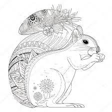 Adorable Squirrel Coloring Page Stock Vector Kchungtw 95581894