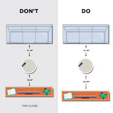 keep an open space of 12 to 18 between a coffee table and the sofa allow 24 to 30 between the coffee table and tv stand