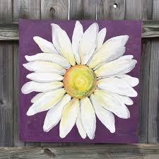 daisy painting on a wood panel original flower art purple by clarabellearte on
