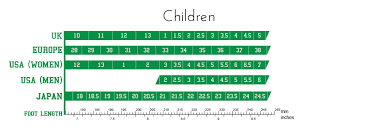 Uk Shoe Size Chart Child Size Guide Heel Guide