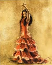 flamenco dancer i painting ine gold flamenco dancer i art print