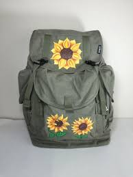 Sunflower Everest Canvas Backpack Hand Painted by Nichole Elder ...