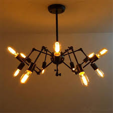 edison bulb lights new spider chandelier vintage wrought iron pendant lamp loft american style lighting 12