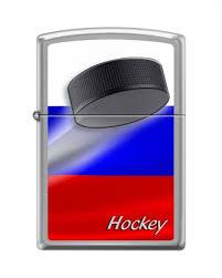 <b>Зажигалка ZIPPO Российский хоккей</b>, с покрытием Brushed ...