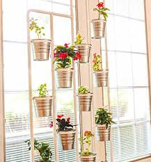 Vertical Plant Stand with Potted Plants in Front of Window
