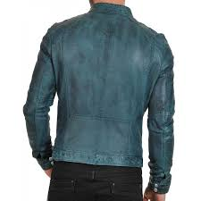 men s waxed green biker leather jacket