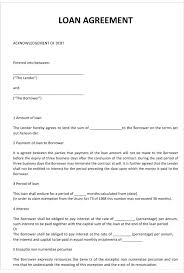 Family Loan Template Family Loan Agreement Template Simple Interest Shareholder It Free