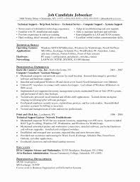 Resume Format For Technical Support Inspirational Technical Support