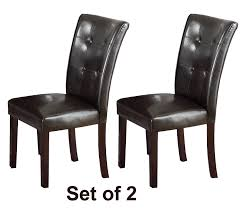 com set of two dark brown faux leather parson chairs walnut legs chairs