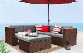 baner garden outdoor furniture complete patio cushion pe wicker rattan garden corner sofa couch set brown 4 pieces com