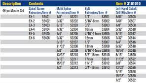 Irwin Drill Bit Size Chart Irwin 3101010 Hanson Master Extractor Set 48 Piece