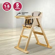 wooden folding baby highchair fold away baby high chair beech colour