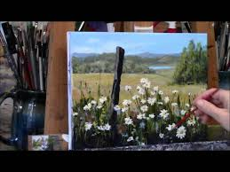 summer daisies country acrylic landscape painting demo summer daydream
