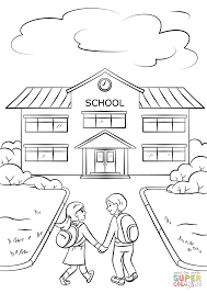 Small Picture Boy and Girl Going to School coloring page Free Printable