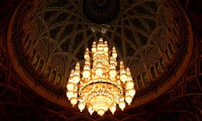 it s not a spaceship it s a chandelier in the sultan qaboos grand mosque in bousher this is the second largest chandelier in the world and is 14