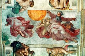 sistine painting sistine chapel ceiling creation of the sun and moon by michelangelo