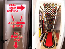 Under stairs lighting Railing Lighting Rock Roll Themed Under Stair Playroom Complete Source List Blue Style Shop The Room Under Stair Playroom Source List Blue Style