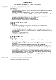 Sales Manager Travel Resume Samples Velvet Jobs