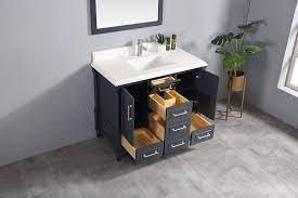 Amazon Com 48 X 22 Willow Collections Aberdeen Bathroom Vanity In Hale Navy Blue Cabinet Only Kitchen Dining