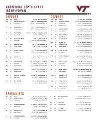 Vt Football Depth Chart Virginia Tech Releases Depth Chart For Opener Against