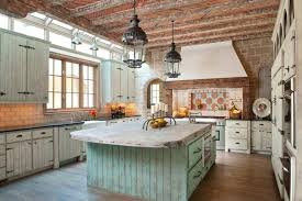 Beautiful Rustic Modern Farmhouse Kitchen With Distressed Wood Island With  Wood Countertops As Well As Antique Cabinets Decorated With Two Pendant  Lantern ...