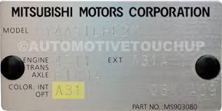 Mitsubishi Color Code Chart Paint Code Locations