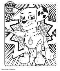 Coloring Pages Marshall Paw Patrol Coloring Pages Printable From