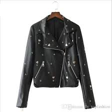 2018 2018 new eagle embroidery sequin pu leather jacket women eyelet heart studded faux leather biker jacket black coat female from ly topfashion