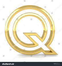 3d golden frame letter q rendering with gold metal empty line alphabet