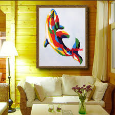 Modern Wall Paintings Living Room Aliexpresscom Buy Handmade Cheap Abstract Dolphin Painting