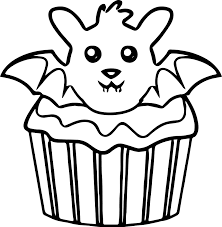 Small Picture Halloween Bat Cupcake Coloring Page Wecoloringpage