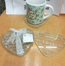 whole 200pcs 100pairs lot indian wedding return gift for guests heart love cup pad mat gl coasters